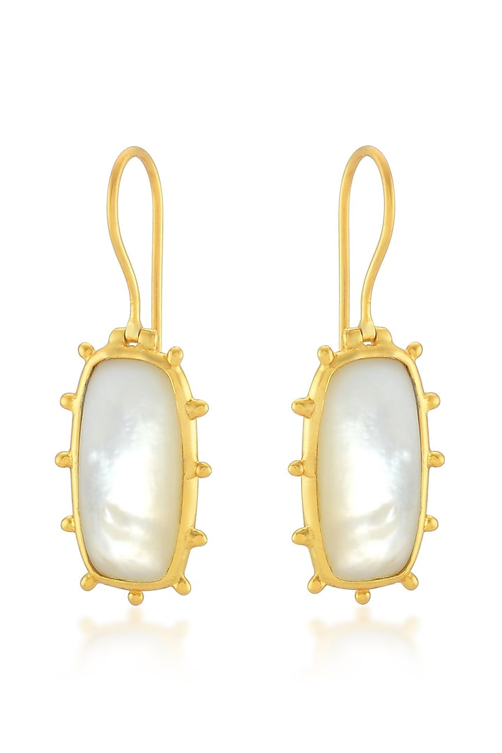 Gold Finish Pearl Earrings by ARVINO