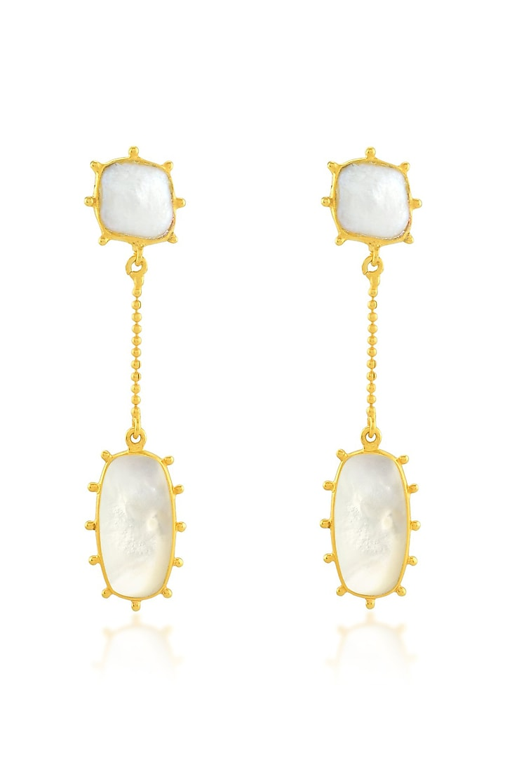 Gold Finish Earrings With Pearl by ARVINO