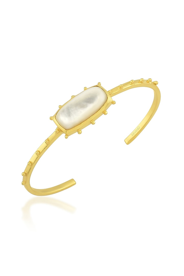 Gold Finish Cuff Bangle With Pearl by ARVINO