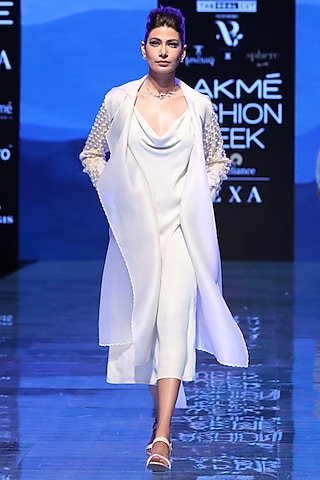 Ivory Embroidered Trench Coat by Archana Rao