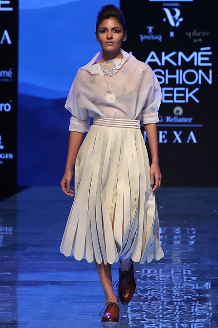 Off White Embroidered Top by Archana Rao