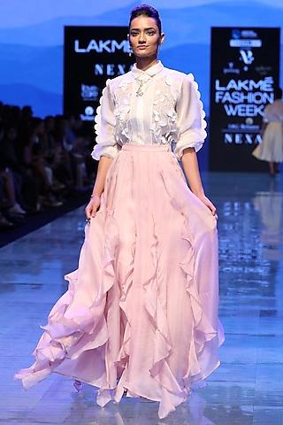 Pink Ruffled Skirt by Archana Rao