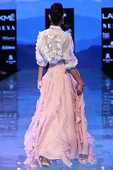 Pink Ruffled Skirt by Archana Rao