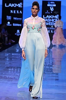 Powder Blue Embroidered Jumpsuit by Archana Rao