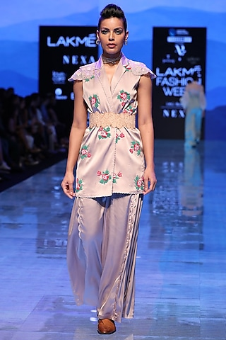 Grey Embroidered Jacket by Archana Rao