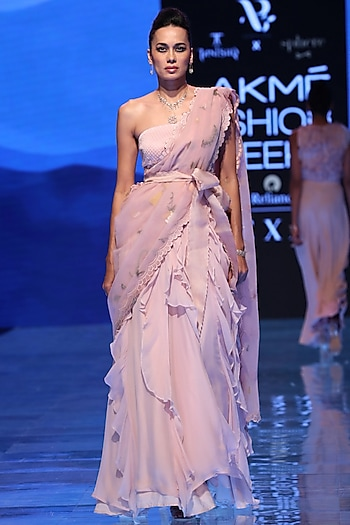 Blush Pink Embroidered Ruffled Saree by Archana Rao
