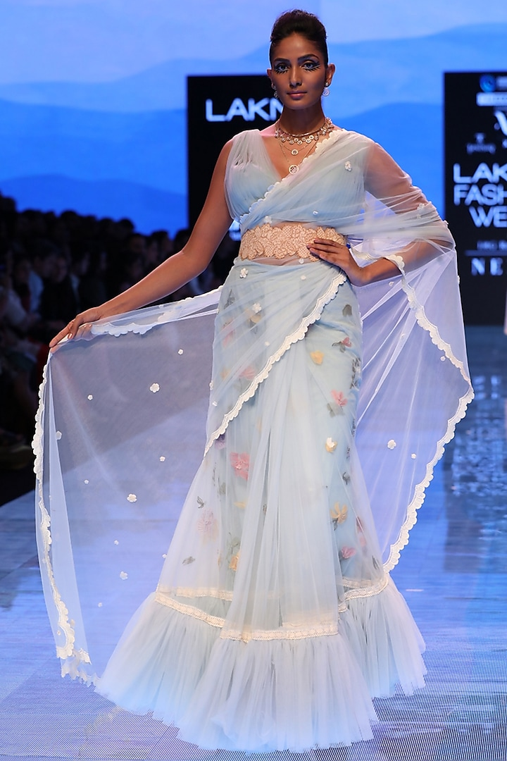 Powder Blue Embroidered Tiered Saree by Archana Rao