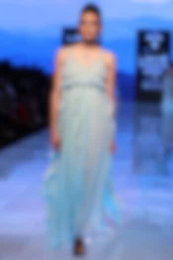 Powder Blue Ruffled Dress by Archana Rao