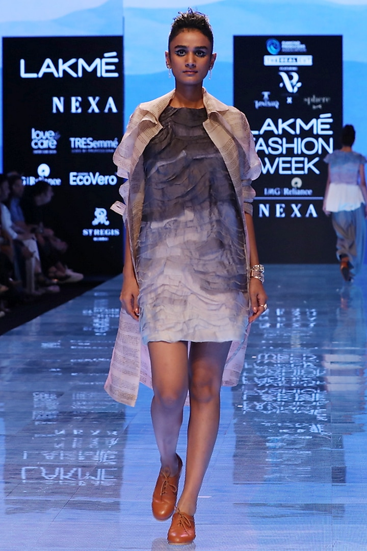 Nude Organza Trench Coat by Archana Rao
