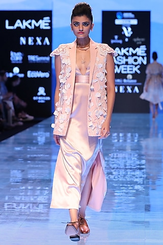 Pink Floral Embroidered Jacket by Archana Rao