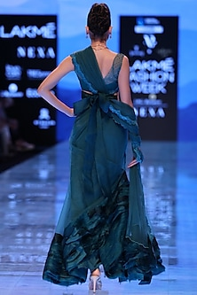 Midnight Blue Ruffled Saree Set by Archana Rao