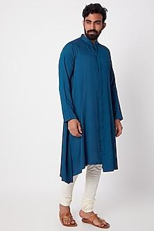Cobalt Blue Textured Kurta by Anurav