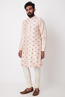 Blush Pink Embroidered Kurta Set by Anurav