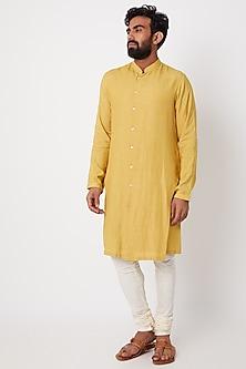 Yellow Asymmetric Striped Kurta by Anurav