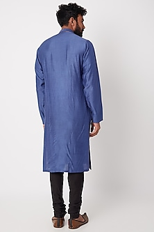Cobalt Blue & Black Embroidered Kurta Set by Anurav