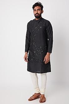 Black Sequins Embroidered Kurta Set by Anurav
