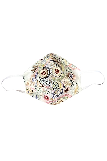 White Embroidered 3 Layered Mask by Anurav