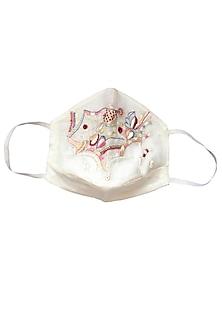White Embroidered Layered Khadi Mask by Anurav