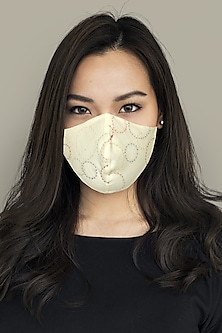 White 3 Layered Embroidered Mask by Anurav