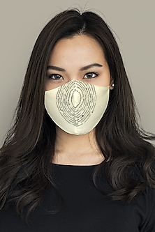 White 3 Layered Khadi Mask by Anurav
