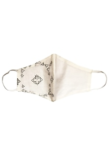 White Layered Mosaic Embroidered Mask by Anurav