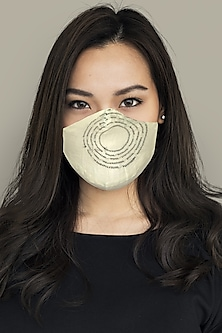 White & Black Embroidered Layered Mask by Anurav