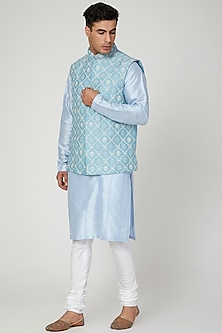 Sky Blue Embroidered Waistcoat by Anurav