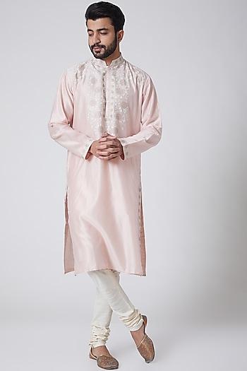 Blush Pink Embroidered Kurta by Anurav