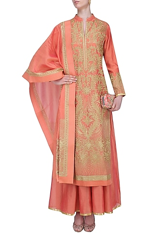 Coral Floral Embroidered Kurta Set With Palazzo Pants by Aiman