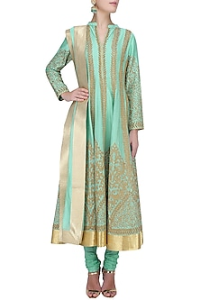 Aqua Blue Dori Embroidered Anarkali Set by Aiman