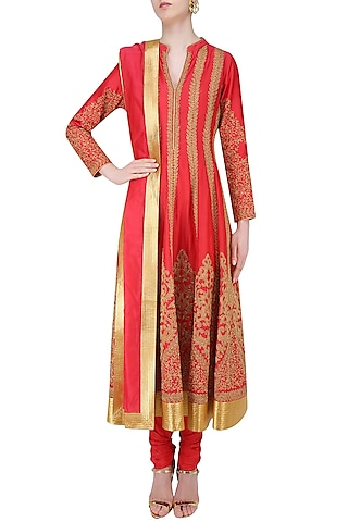 Red Dori Embroidered Sequinned Anarkali Set by Aiman