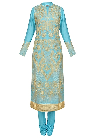 Sky Blue Dori Embroidered Sequinned Kurta Set by Aiman