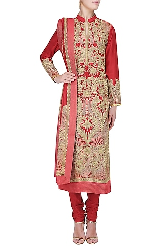 Red and Gold Dori Embroidered Sequinned Kurta Set by Aiman