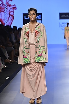 Nude lace yoke deep neck maxi dress by Aiman
