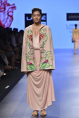 Nude cowl drape skirt by Aiman