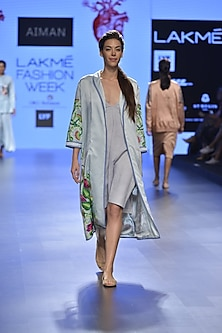 Dull ink blue embroidered trench coat by Aiman
