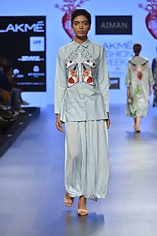 Powder blue battery embroidered motif button down shirt by Aiman