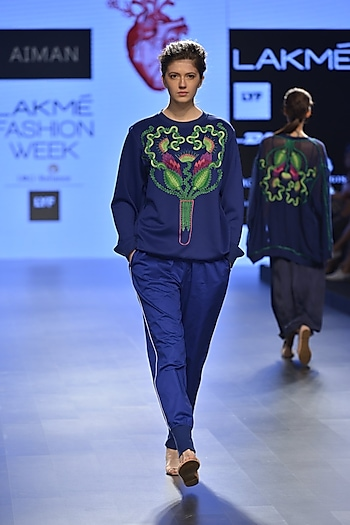 Electric blue track pants by Aiman