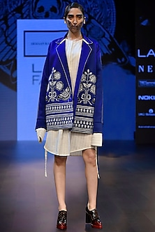 Blue Boxy Overlap Embroidered Bomber Jacket by ARMAAN RANDHAWA
