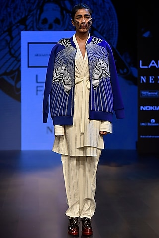 Blue Embroidered Boxy Zipper Bomber Jacket by ARMAAN RANDHAWA