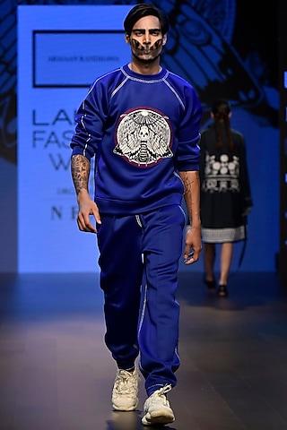 Navy Blue Embroidered Boxy Sweat Shirt by ARMAAN RANDHAWA