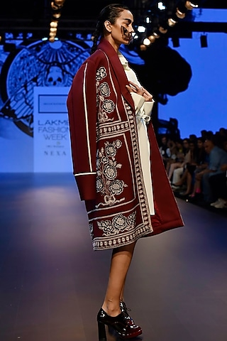 Maroon Embroidered Boxy Overcoat and String Dress by ARMAAN RANDHAWA