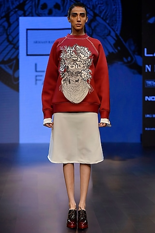 Maroon Embroidered Boxy Sweat Shirt and A Long String Dress by ARMAAN RANDHAWA