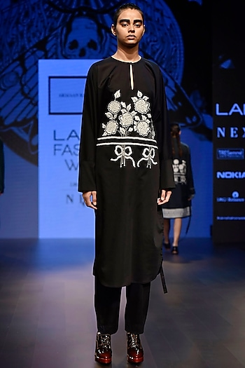 Black Embroidered Kaftan Style Dress by ARMAAN RANDHAWA
