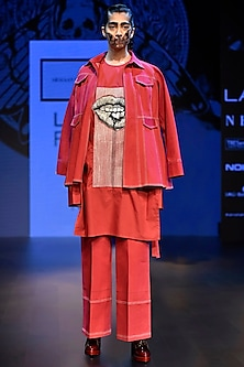 Red Artwork Denim Jacket with Shirt and Trouser by ARMAAN RANDHAWA