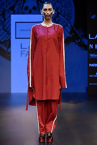 Maroon Straight Shirt with Cream Panel Lines Detailing by ARMAAN RANDHAWA