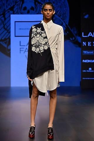 Black Embroidered Crop Jacket by ARMAAN RANDHAWA