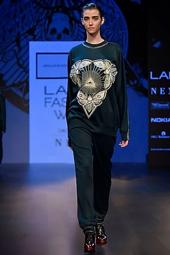 Dark Green Embroidered Boxy Sweat Shirt with A Long String Dress by ARMAAN RANDHAWA