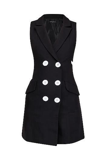 Black Side Cut Outs Tuxedo Dress by Arabellaa