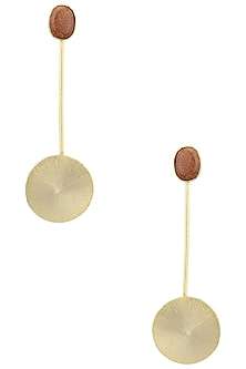 Gold Plated Semi Precious Stone Round Earrings by Aaree Accessories